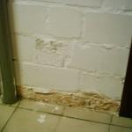 feuchte Wand, feuchte Wände, Zerstörung unterhalb der Horizontalsperre, welche über dem 1. Mauerstein liegt & Putzschäden - Verfärbungen der Wandoberfläche