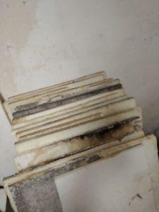 Styroporplatten welche hinter einer Holzvertäfelung im Keller eingbaut waren - völlig verschimmelt, Ursache feuchter Keller, undichte Kellerabdichtung